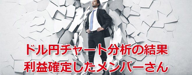 ドル円チャート分析の結果 利益確定したメンバーさん